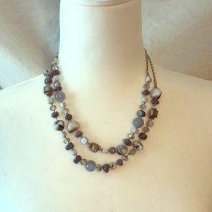 Gray Stone Silver Tone Necklace